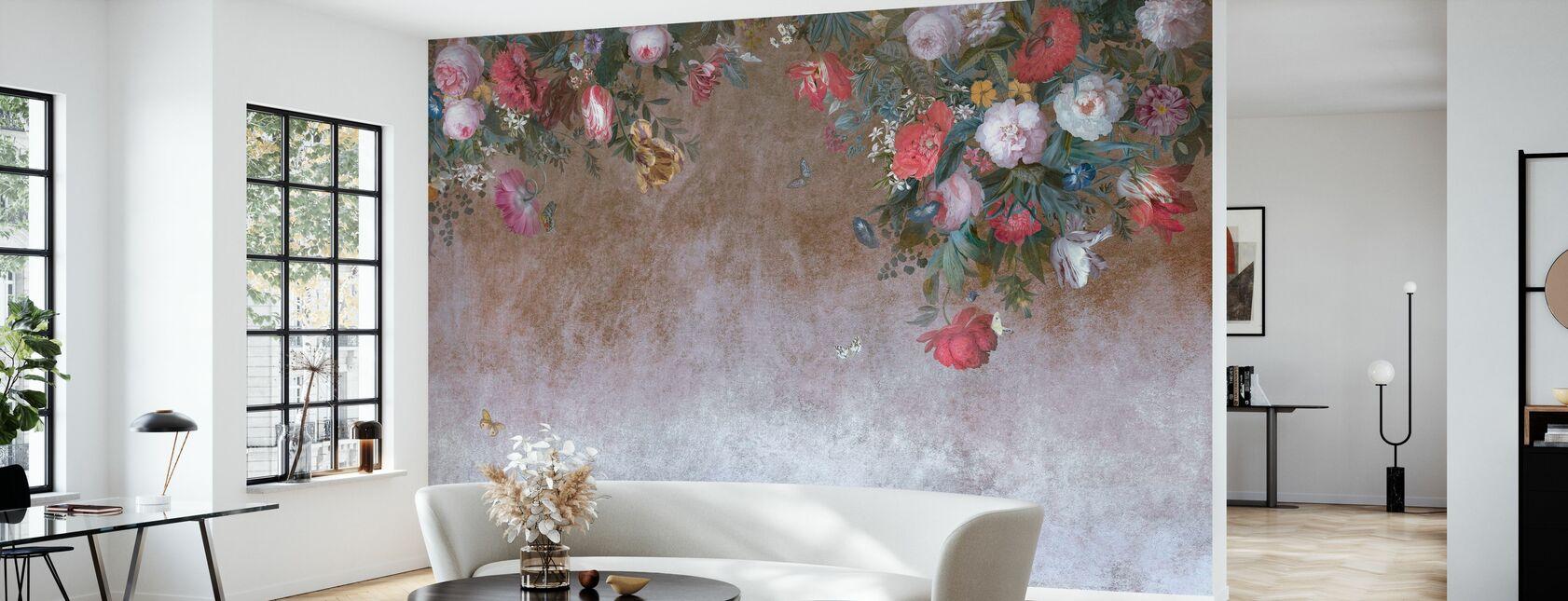 Flower Grunge Wall - Wallpaper - Living Room