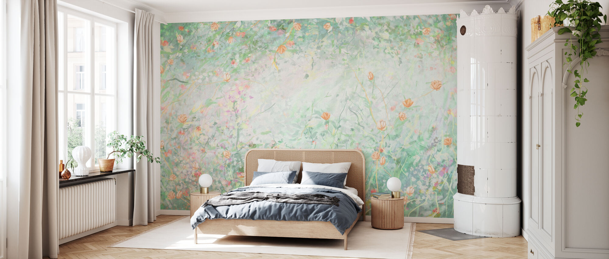 Gentle Flowers - Hellgrün - Tapete - Schlafzimmer