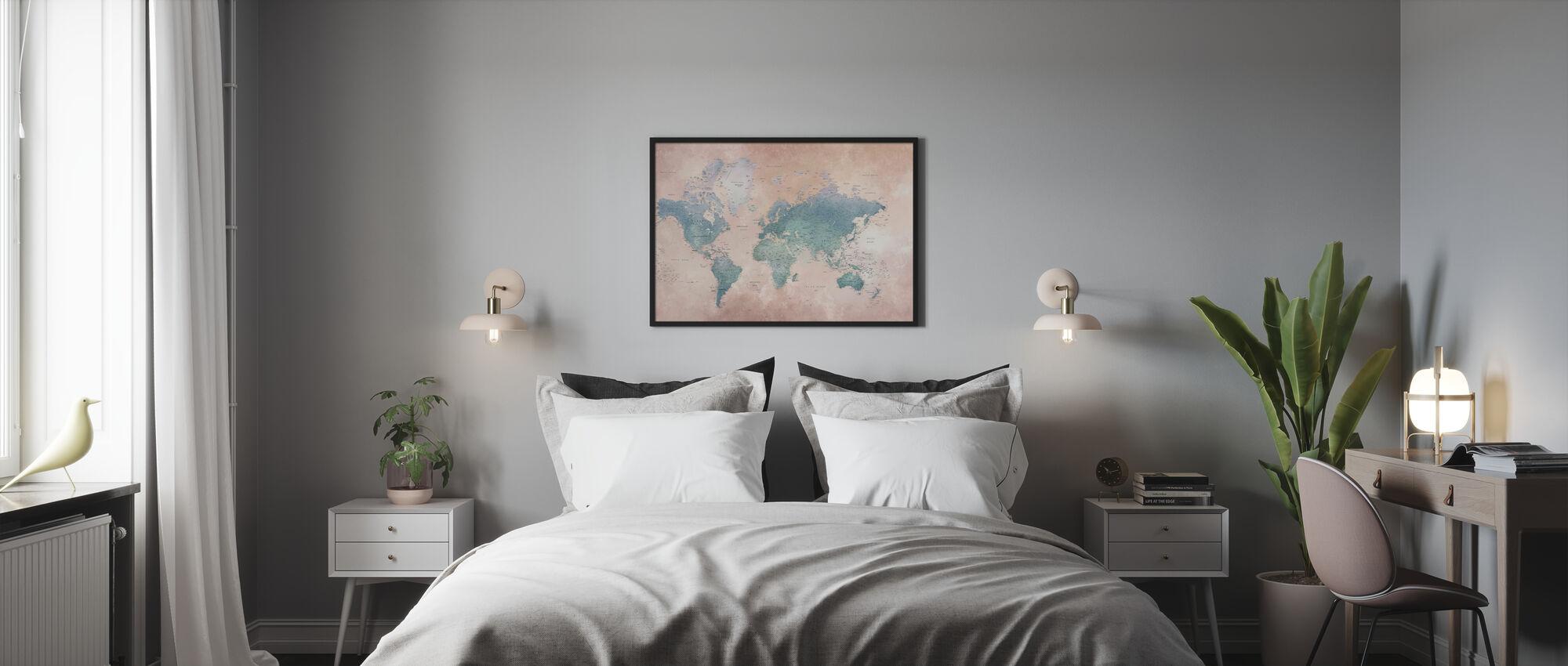 World Map - Ash-Blue - Framed print - Bedroom