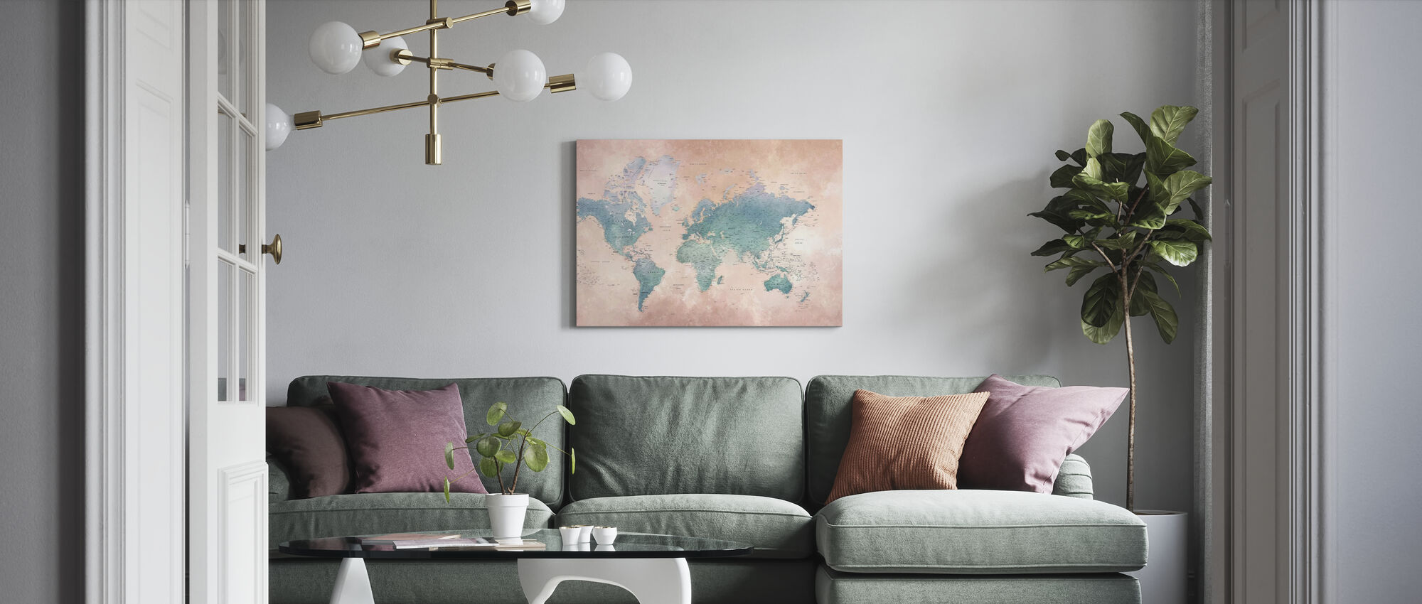 World Map - Ash-Blue - Canvas print - Living Room