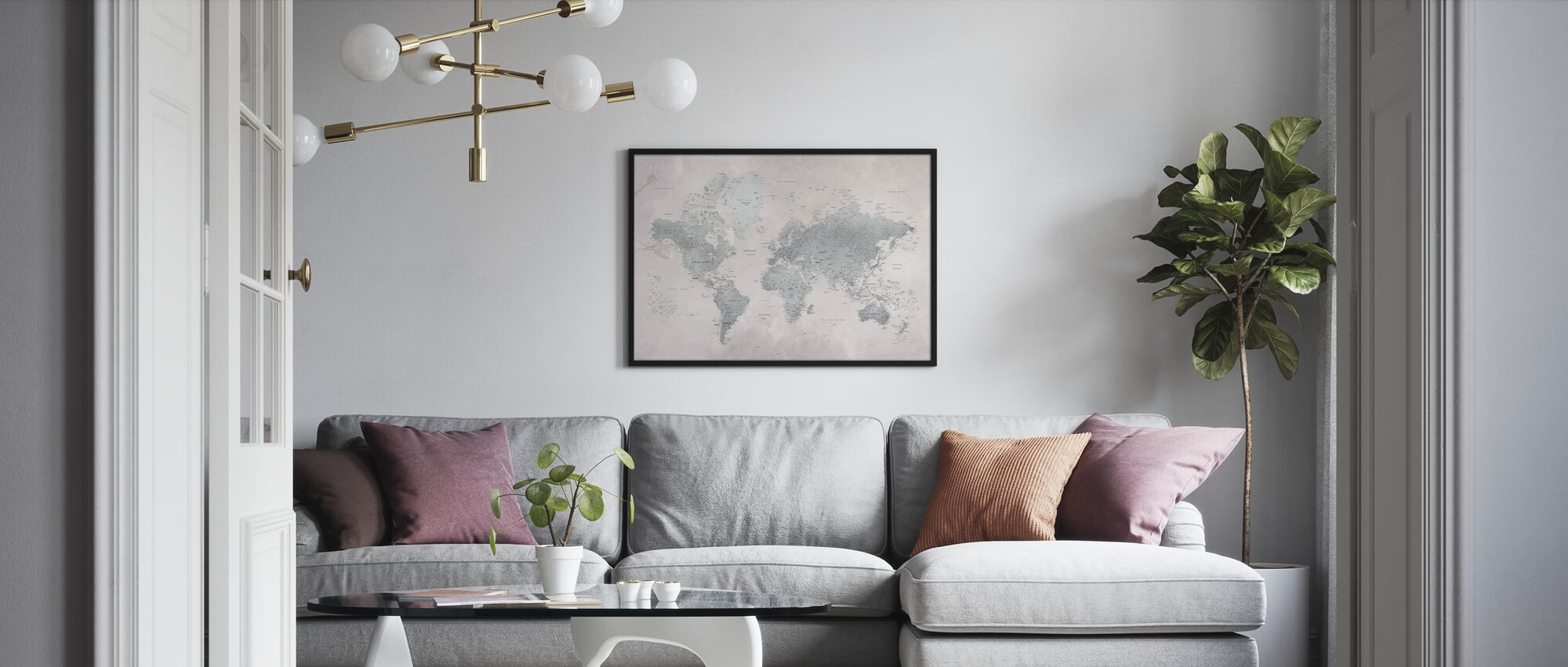 World Map - Ash-Green - Framed print - Living Room