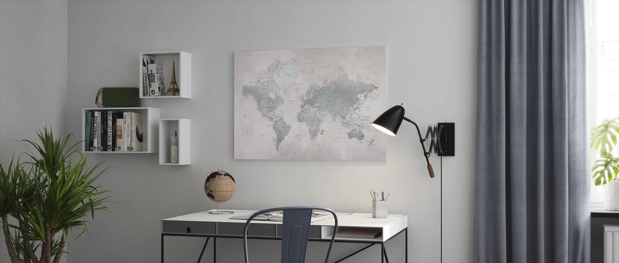 Maailmankartta - Ash-Green - Canvastaulu - Toimisto