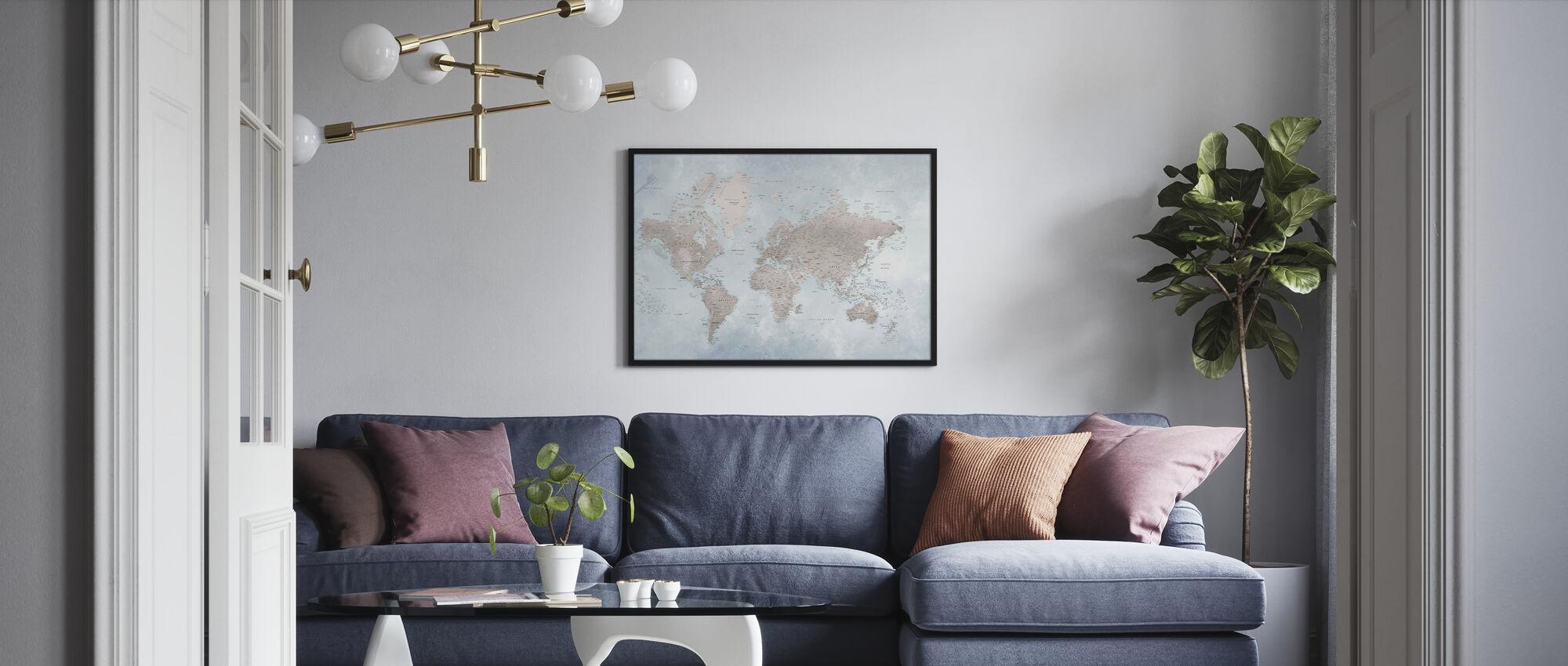 World Map - Bright - Framed print - Living Room