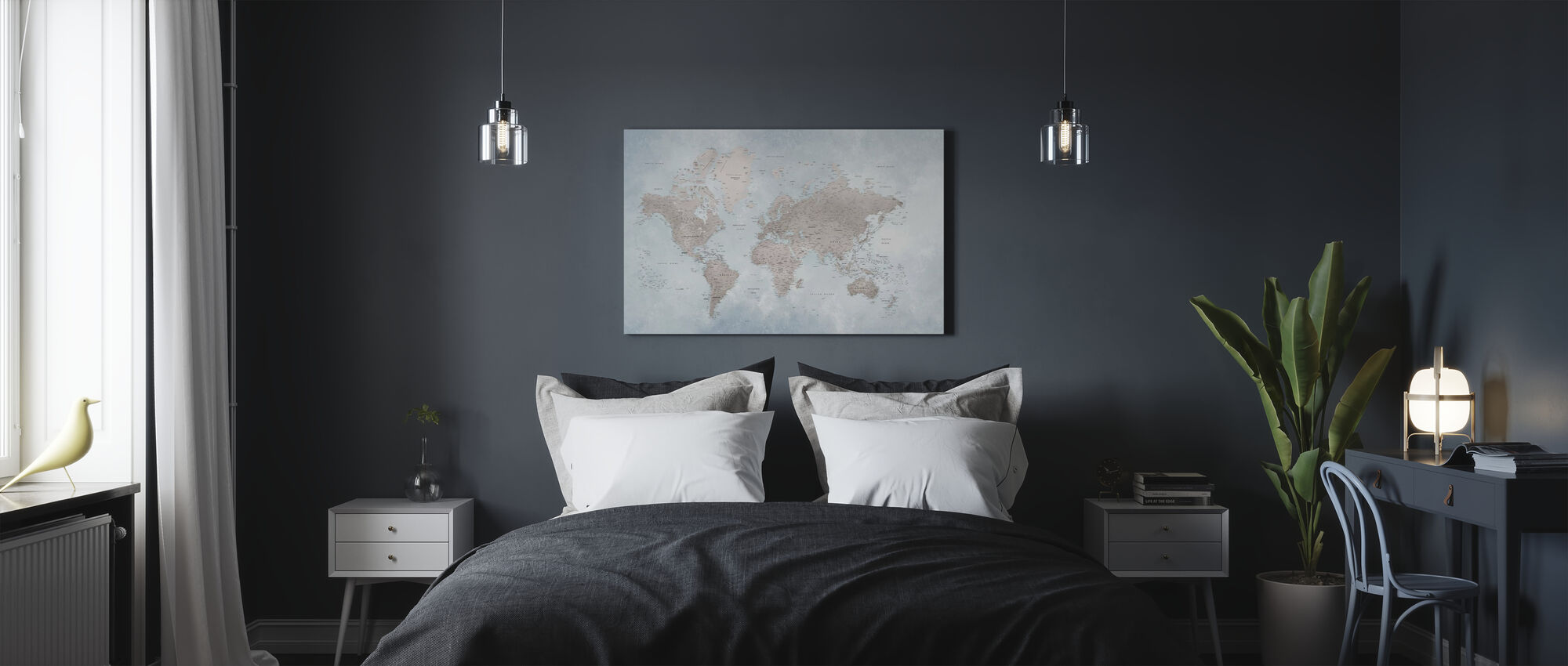 World Map - Bright - Canvas print - Bedroom