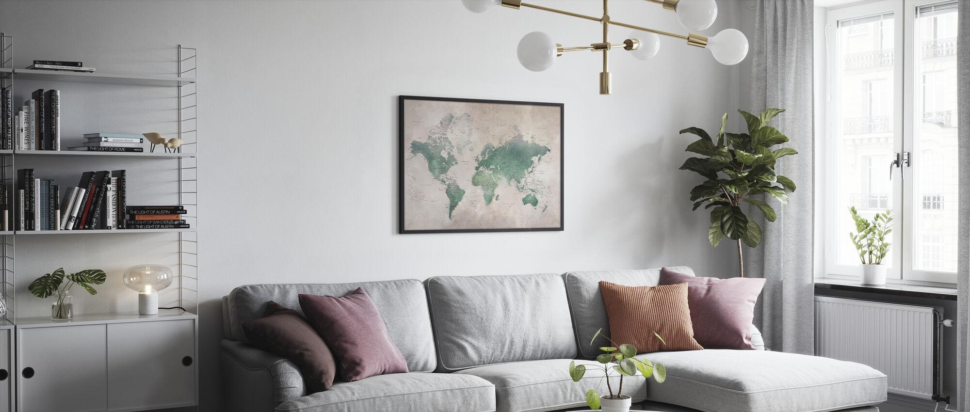 World Map - Emerald - Framed print - Living Room