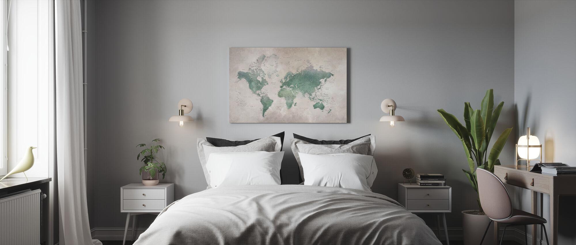 Weltkarte - Emerald - Leinwandbild - Schlafzimmer