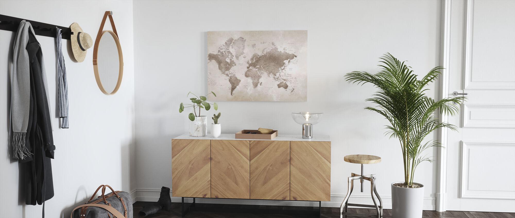 Weltkarte - Sepia - Leinwandbild - Flur