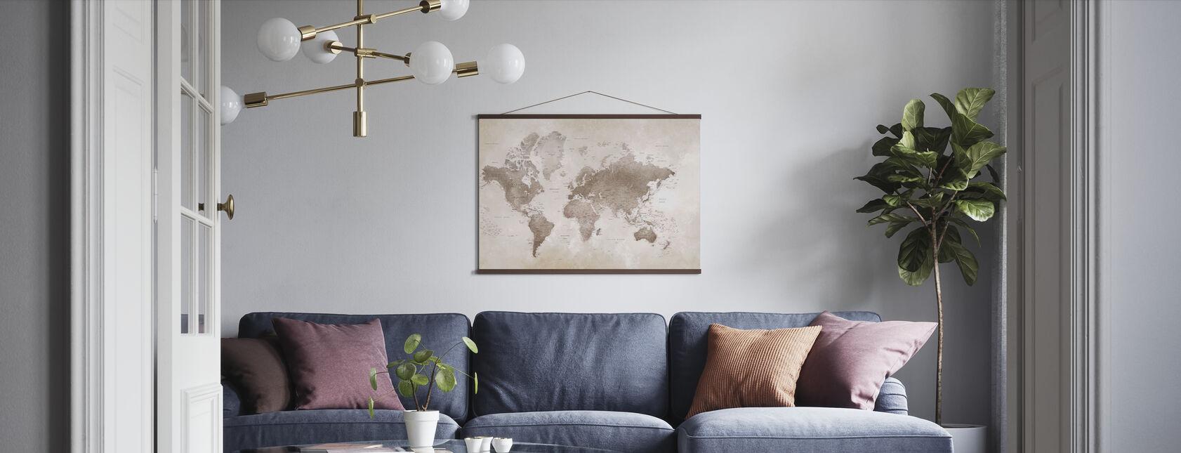 Maailmankartta - Sepia - Juliste - Olohuone