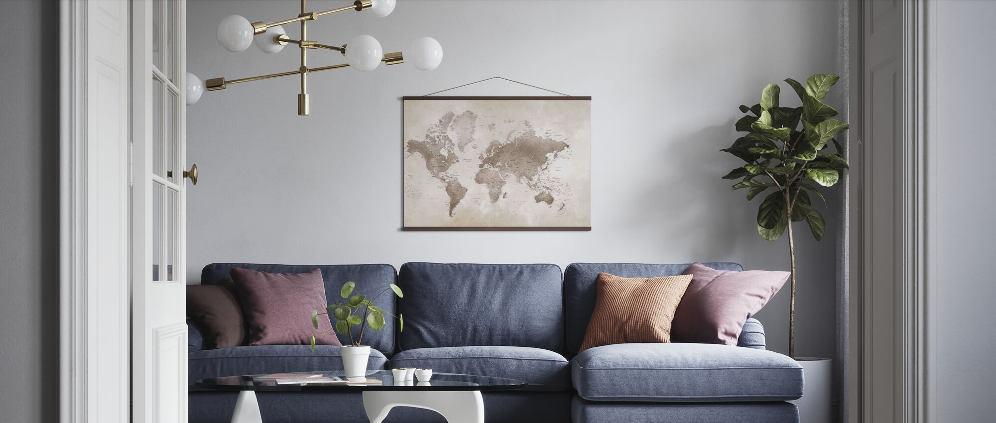 World Map - Sepia - Poster - Living Room