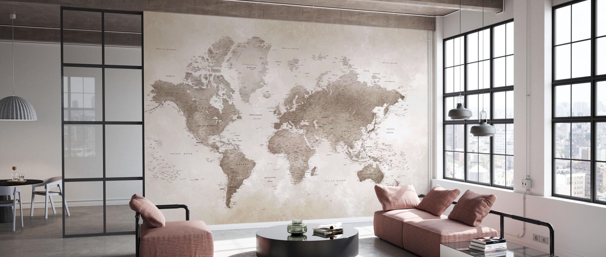 World Map - Sepia - Wallpaper - Office