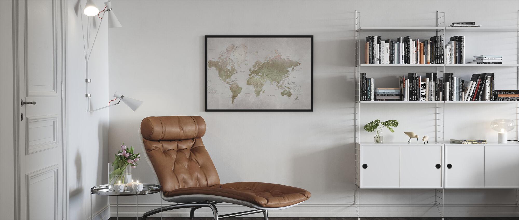 World Map - Smoky - Framed print - Living Room
