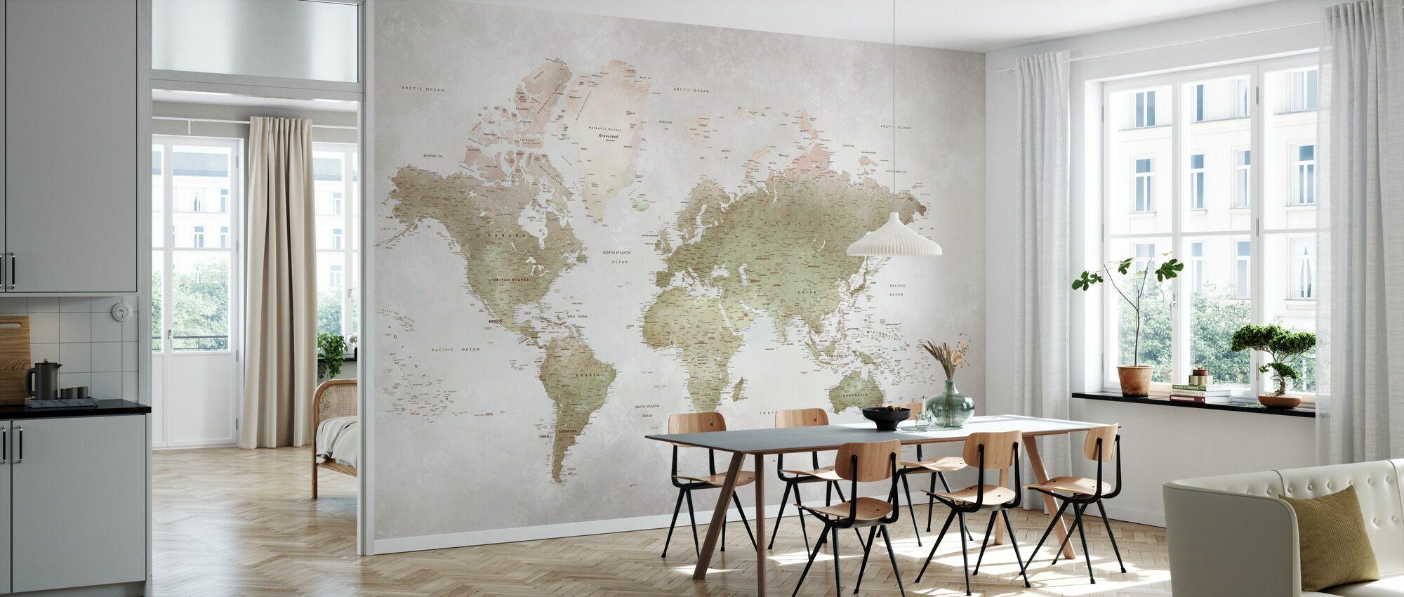World Map - Smoky - Wallpaper - Kitchen