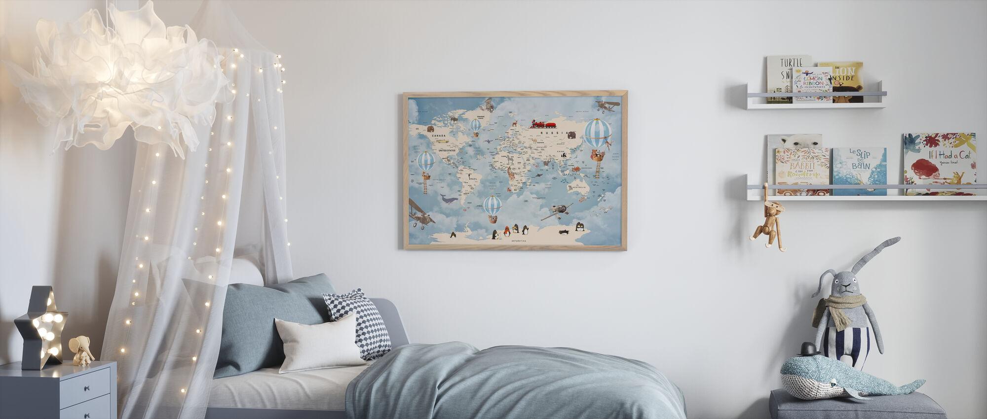 Dyr Home Kart - Innrammet bilde - Barnerom