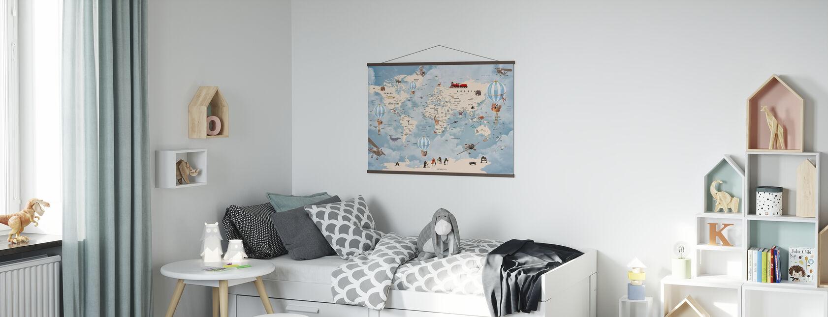 Mapa de inicio de animales - Póster - Cuarto de niños