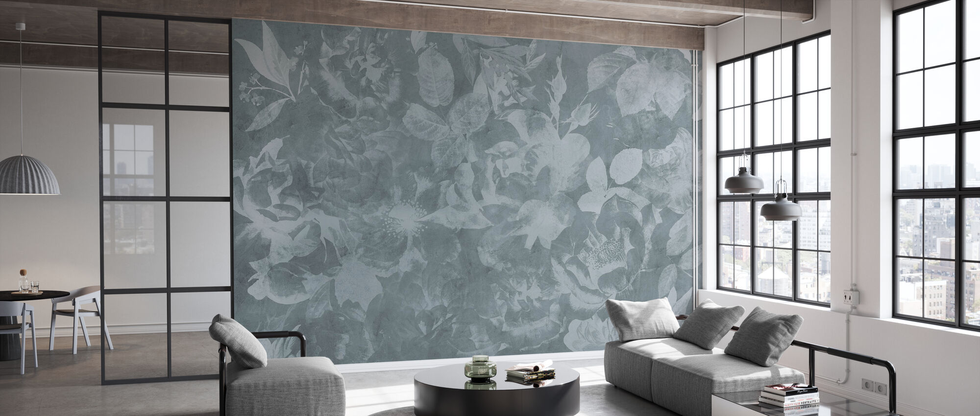 Flowers and Concrete - Gray - Wallpaper - Office