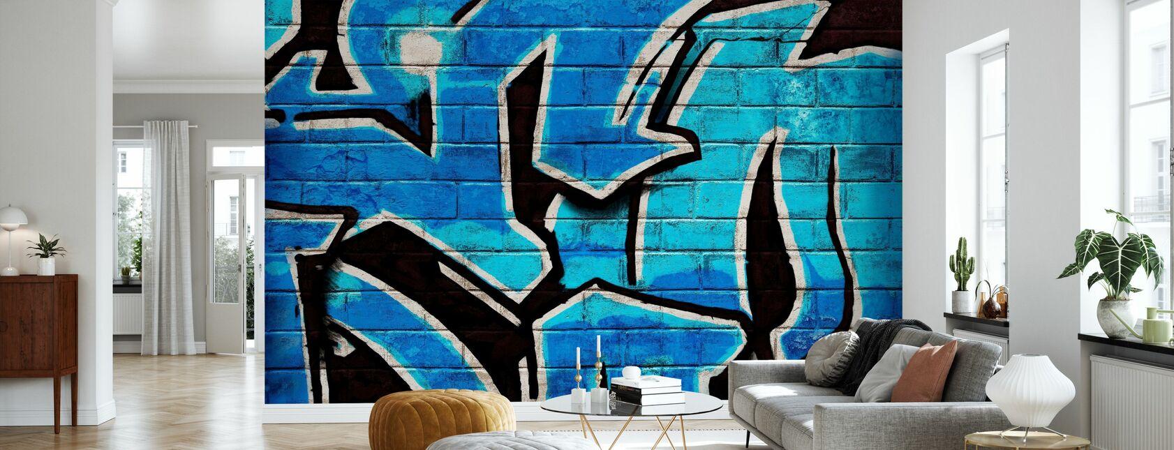 Graffiti bakstenen muur - blauw - Behang - Woonkamer