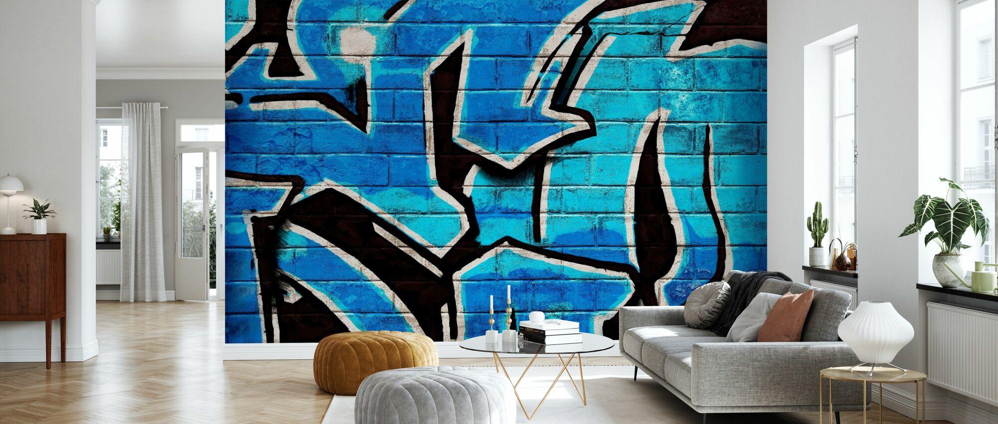 Graffiti Brick Wall - Blue - Wallpaper - Living Room