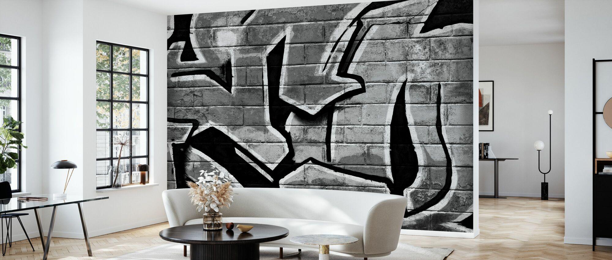 Graffiti Brick Wall - Bw - Wallpaper - Living Room