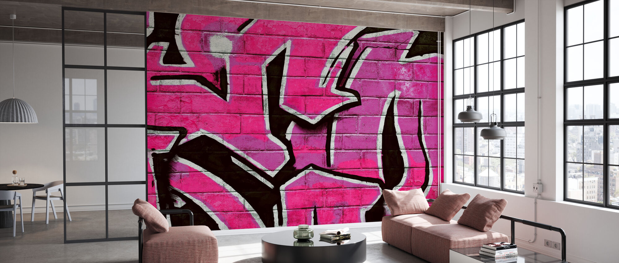 Graffiti Brick Wall - Pink - Wallpaper - Office