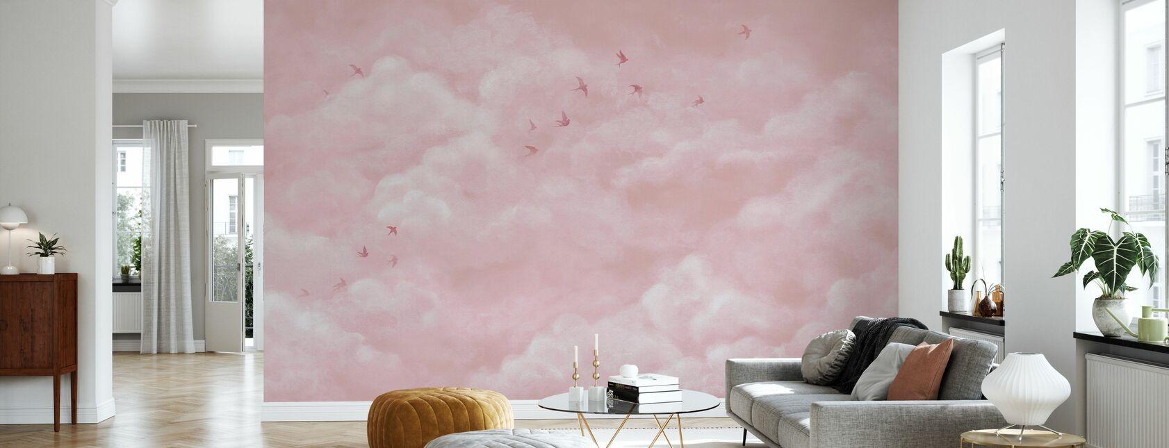 Zarte Wolken mit Schwalben - Rosa - Tapete - Wohnzimmer