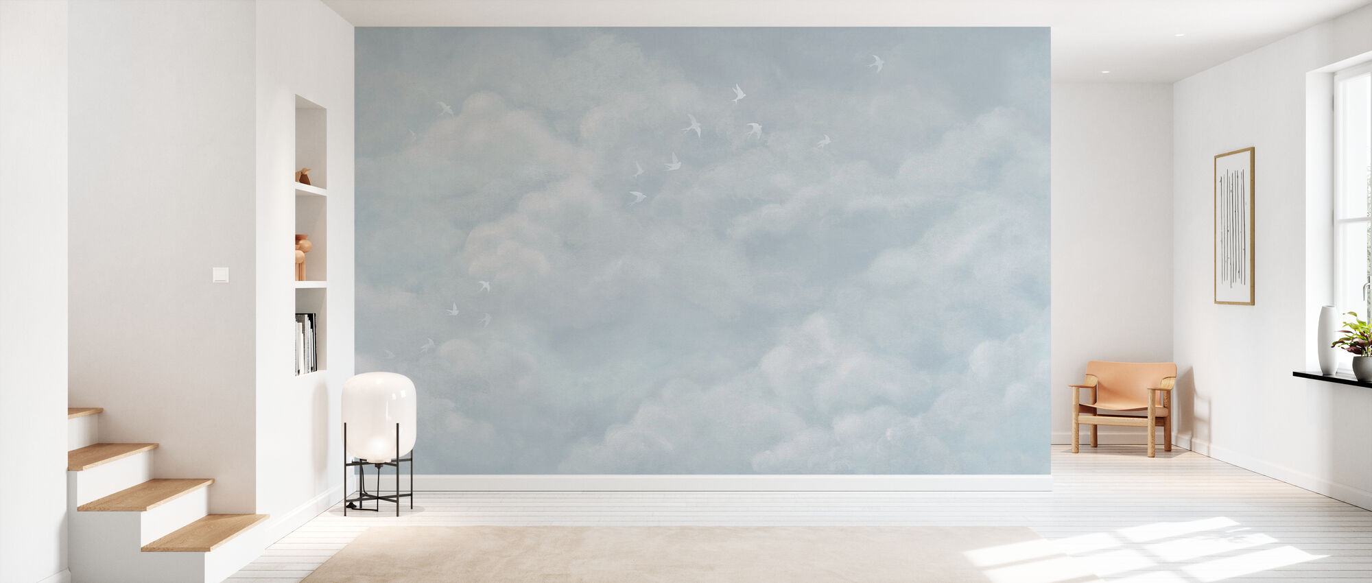 Tender Clouds with White Swallows - Soft Blue - Wallpaper - Hallway