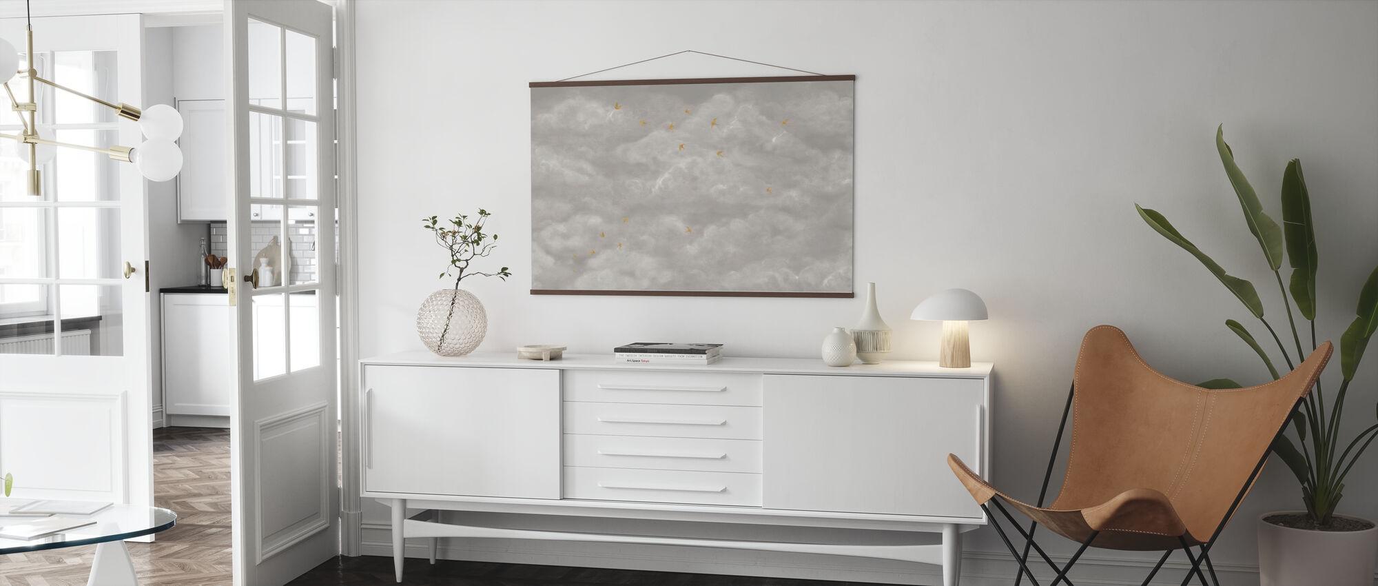 Tender Wolken met Gele Zwaluwen - Beige - Poster - Woonkamer