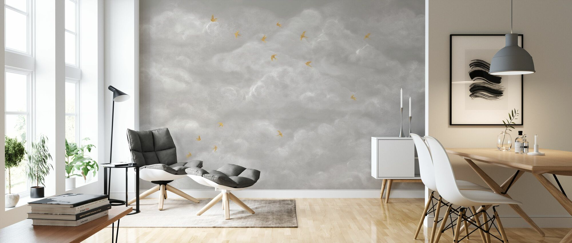 Tender Clouds with Yellow Swallows - Beige - Wallpaper - Living Room
