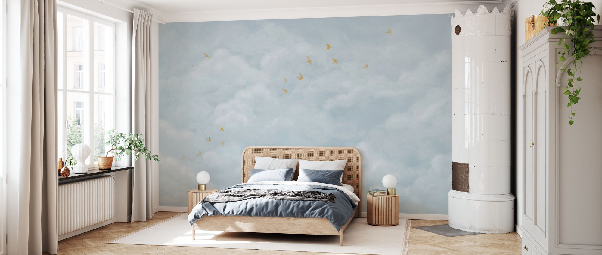 Tender Clouds with Yellow Swallows - Soft Blue - Wallpaper - Bedroom