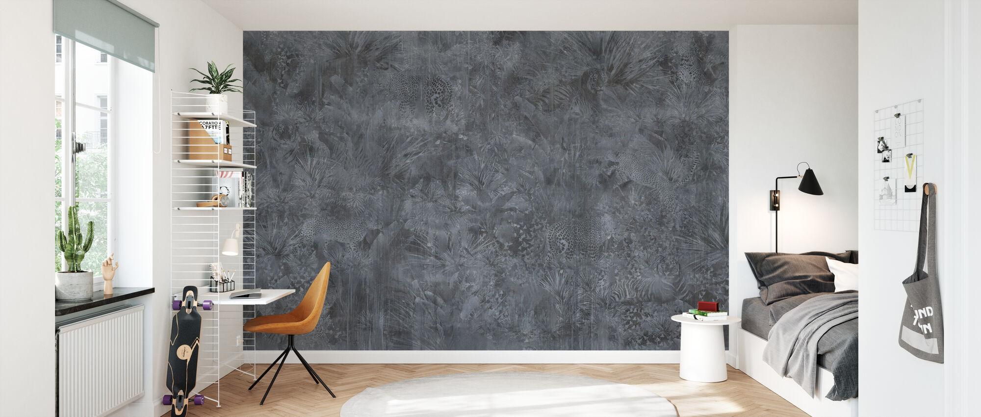Tropical Panther - Ash - Wallpaper - Kids Room