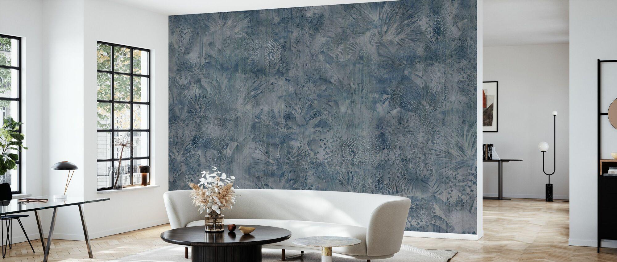 Tropical Panther - Indigo Ash - Wallpaper - Living Room