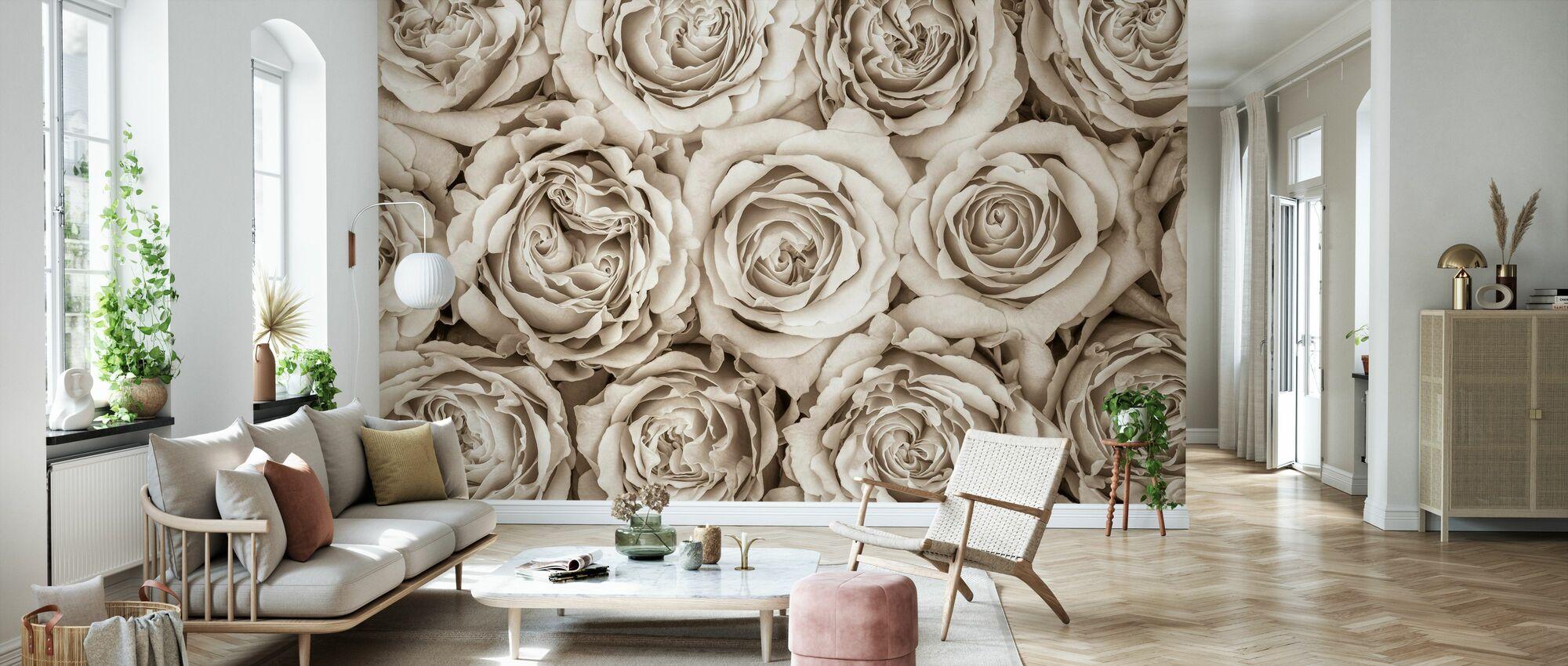 Roses - Sepia - Wallpaper - Living Room