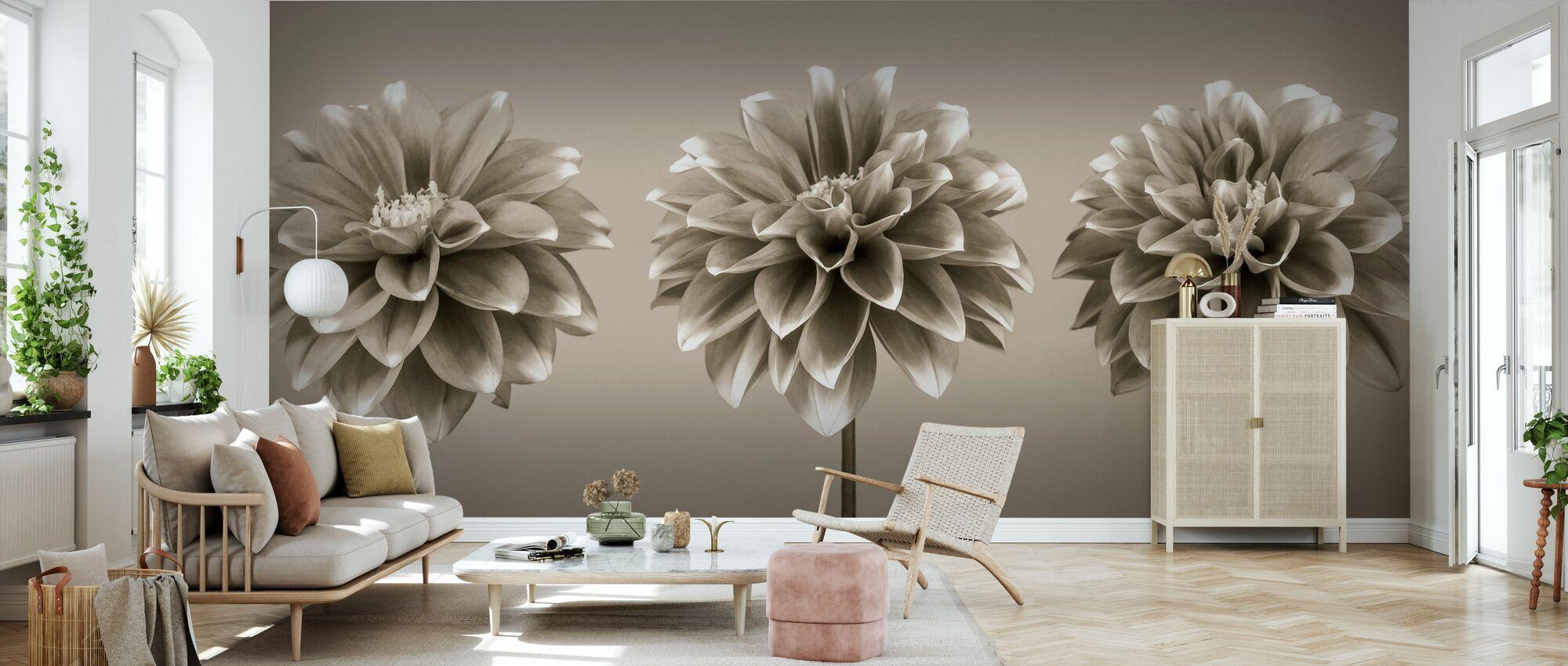 Dahlias - Sepia - Wallpaper - Living Room