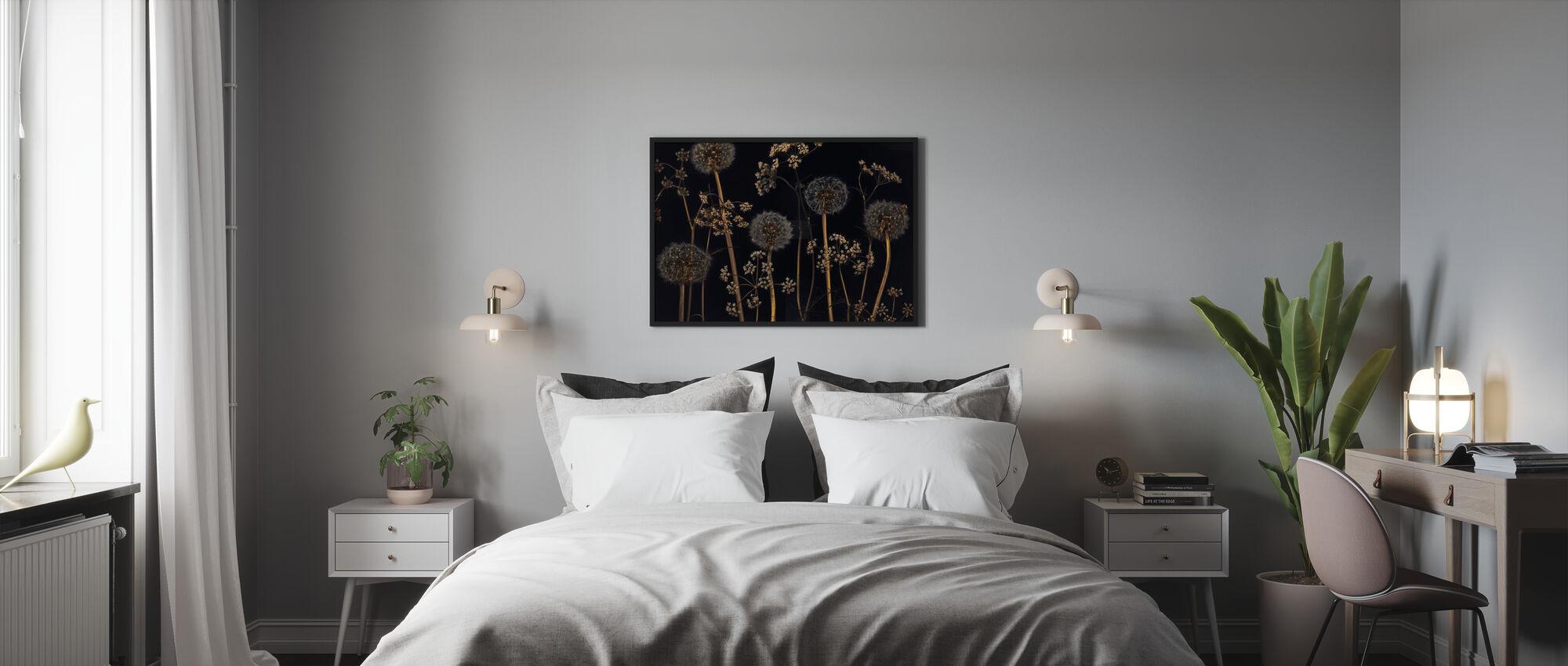 Meadow Flowers - Black - Framed print - Bedroom