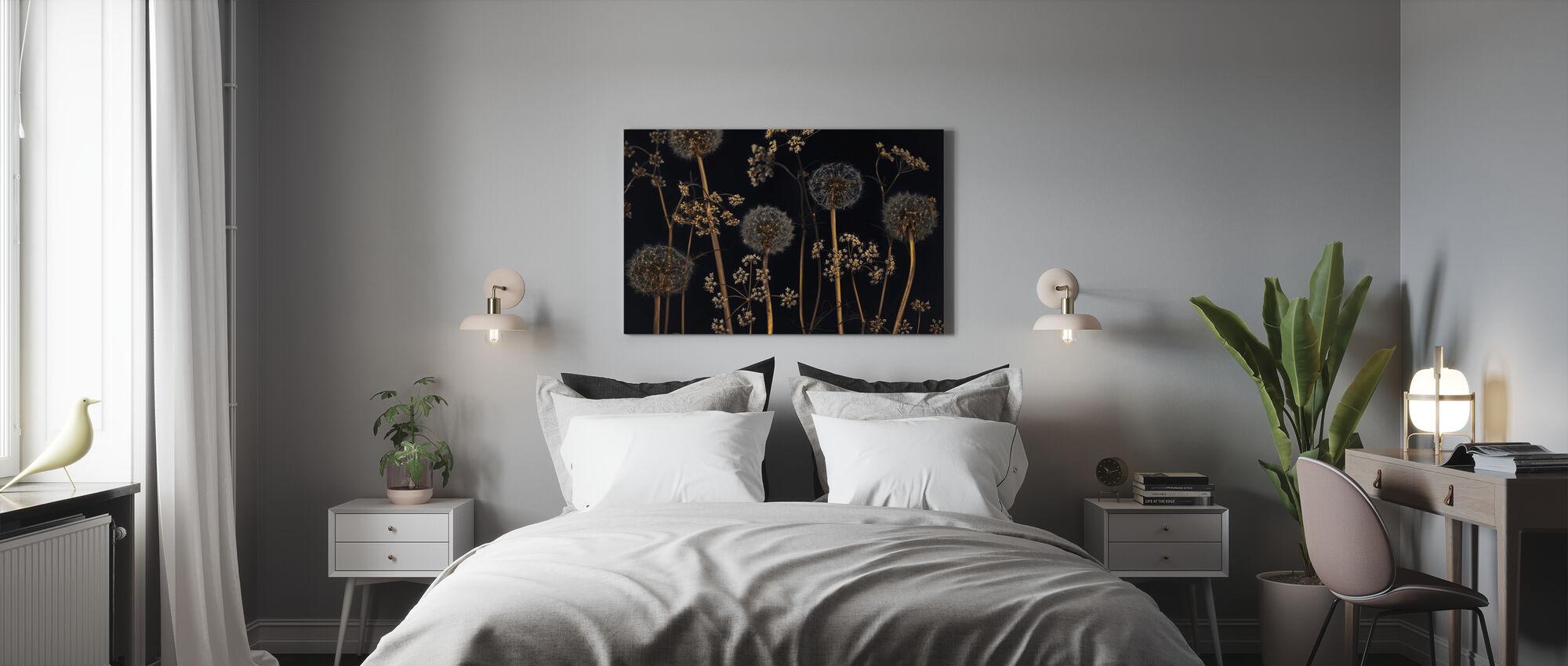 Meadow Flowers - Black - Canvas print - Bedroom