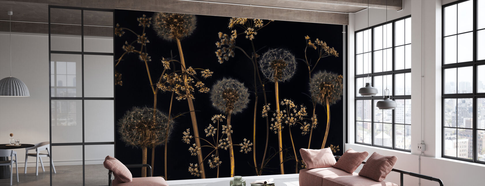 Meadow Flowers - Black - Wallpaper - Office