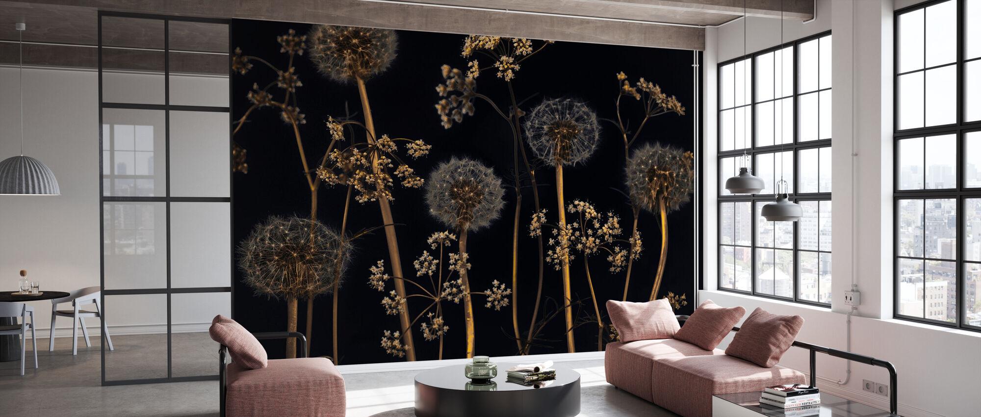 Weide Bloemen - Zwart - Behang - Kantoor
