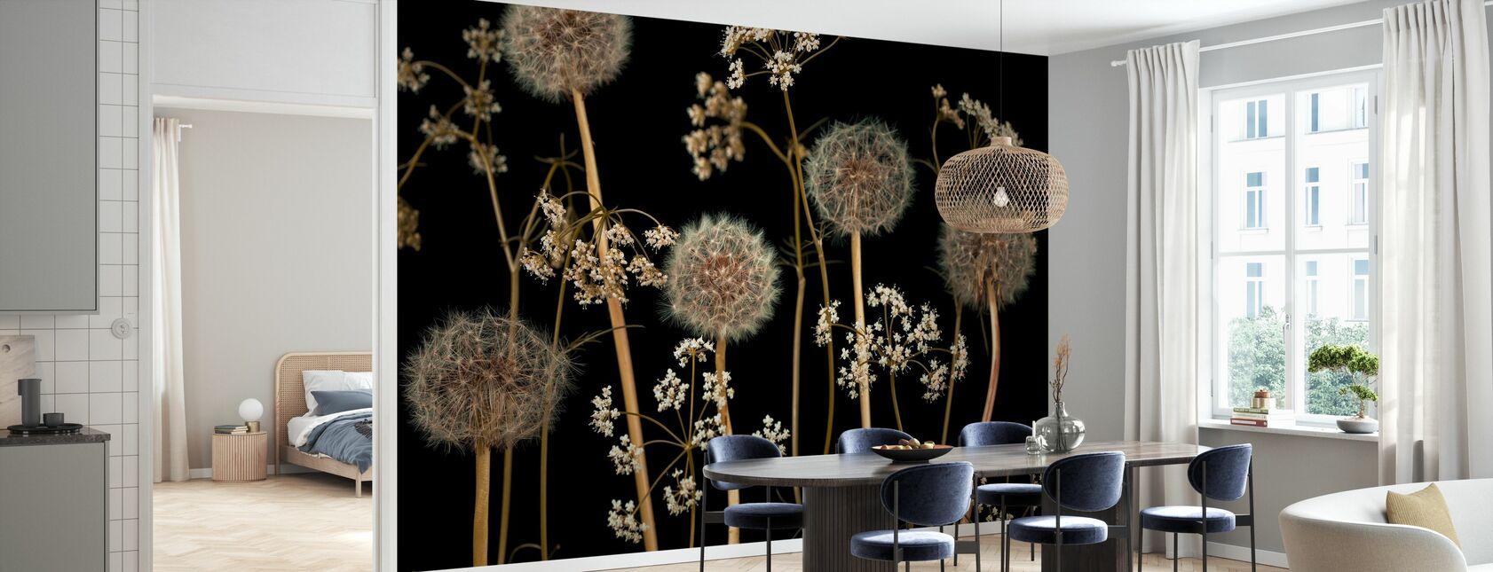 Fleurs des Prairies - Marron foncé - Papier peint - Cuisine