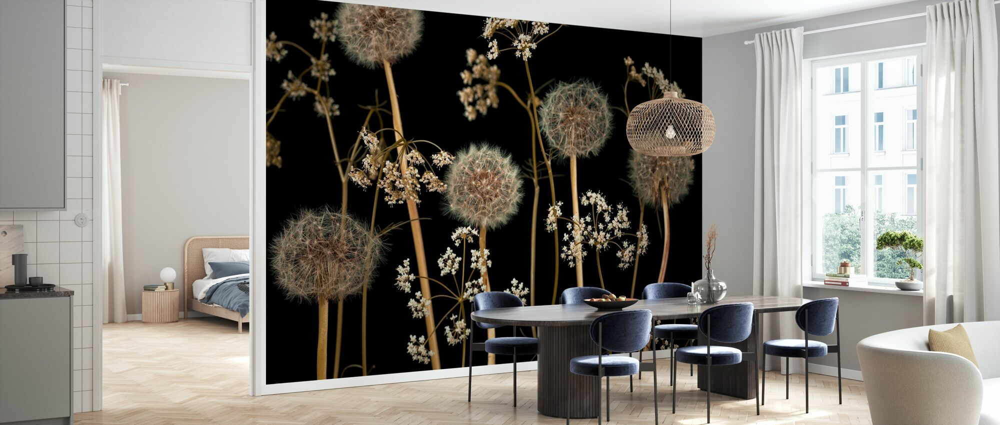 Meadow Flowers - Dark-Brown - Wallpaper - Kitchen