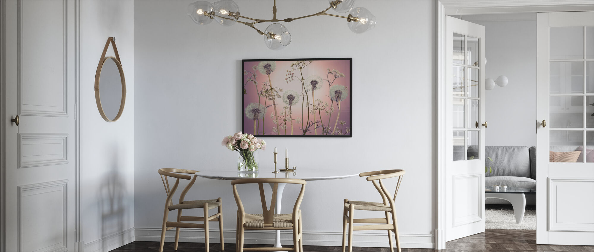 Meadow Flowers - Pink - Framed print - Kitchen