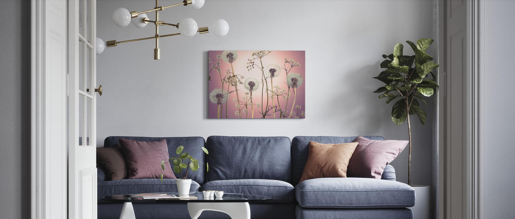 Wiesenblumen - Rosa - Leinwandbild - Wohnzimmer