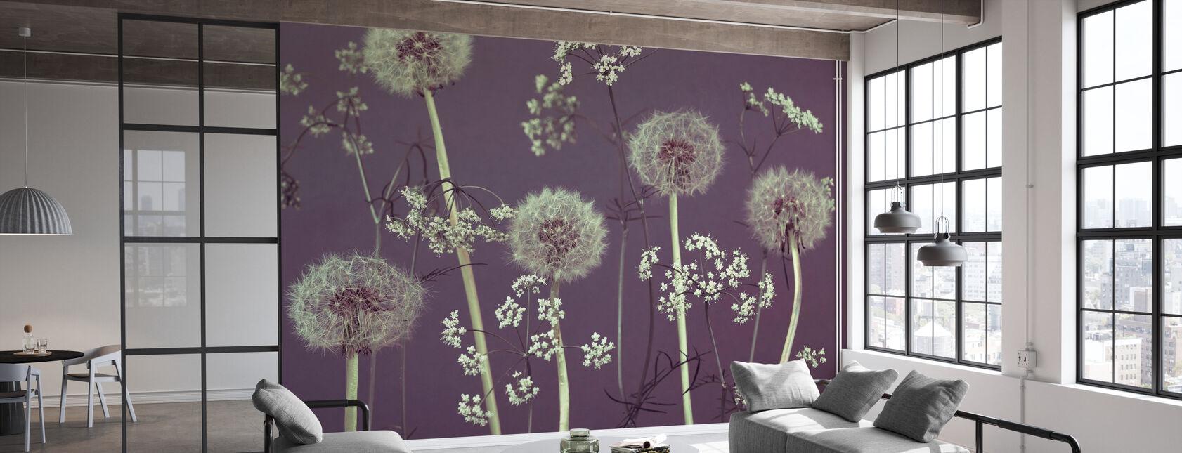 Meadow Flowers - Purple - Wallpaper - Office