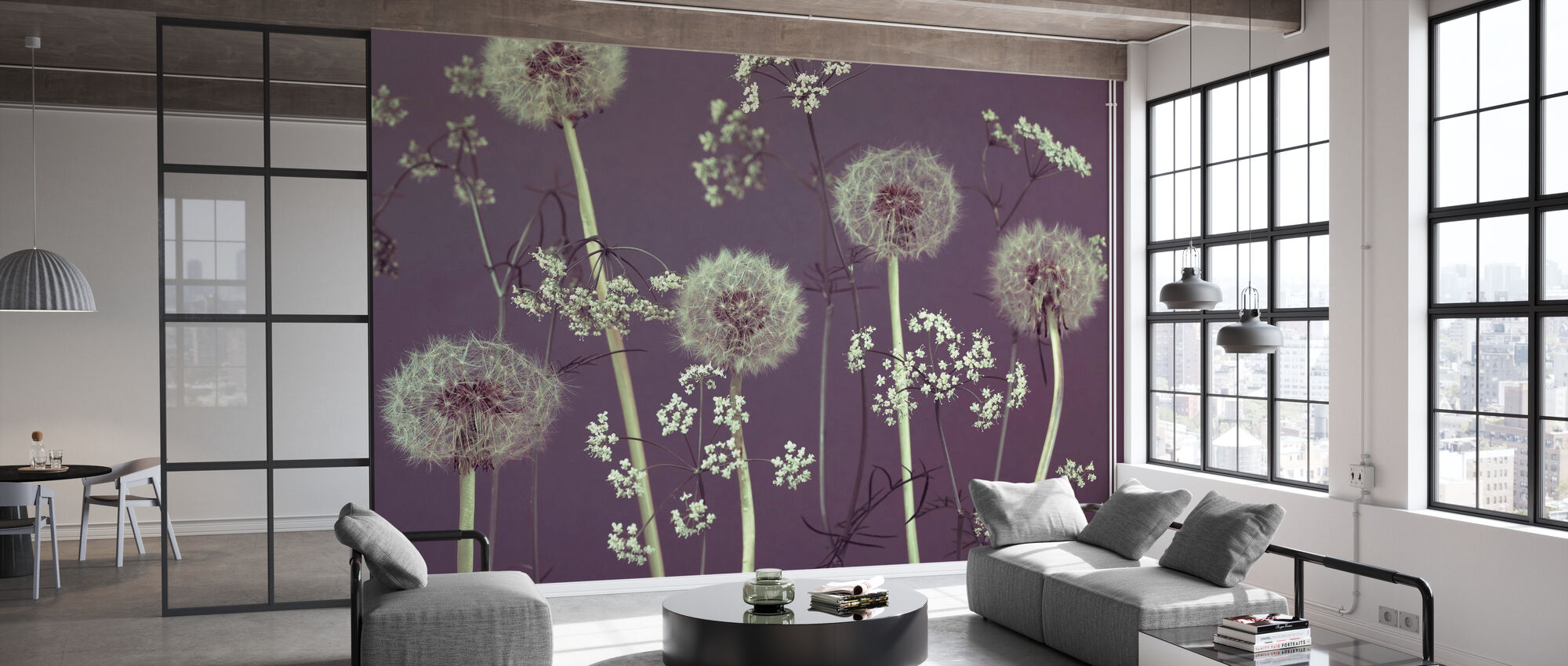 Weide Bloemen - Paars - Behang - Kantoor