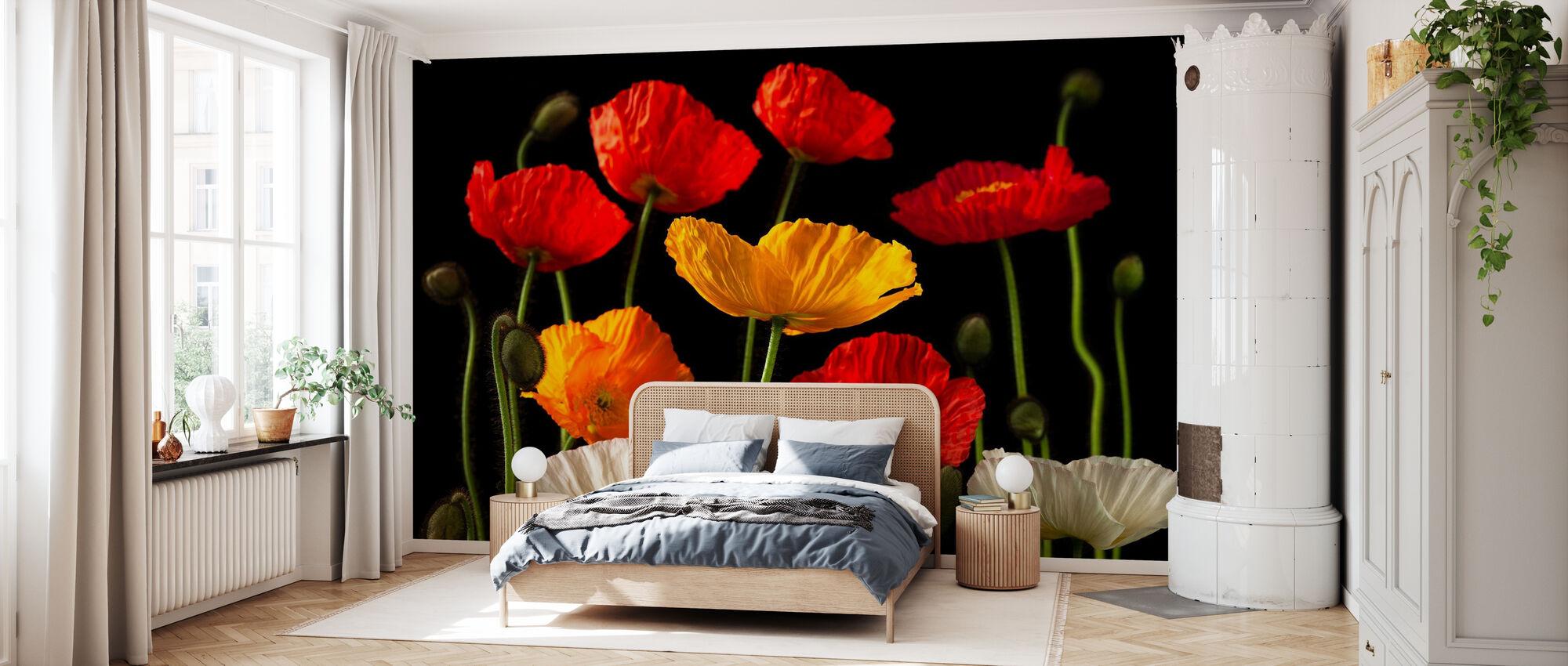 Poppies - Dark - Wallpaper - Bedroom