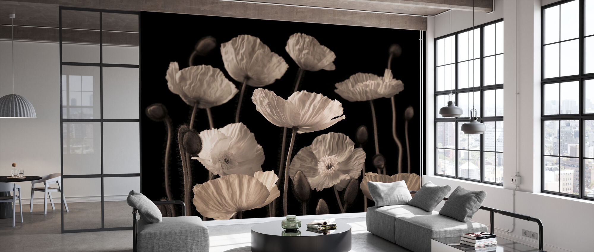 Poppies - Sepia - Wallpaper - Office