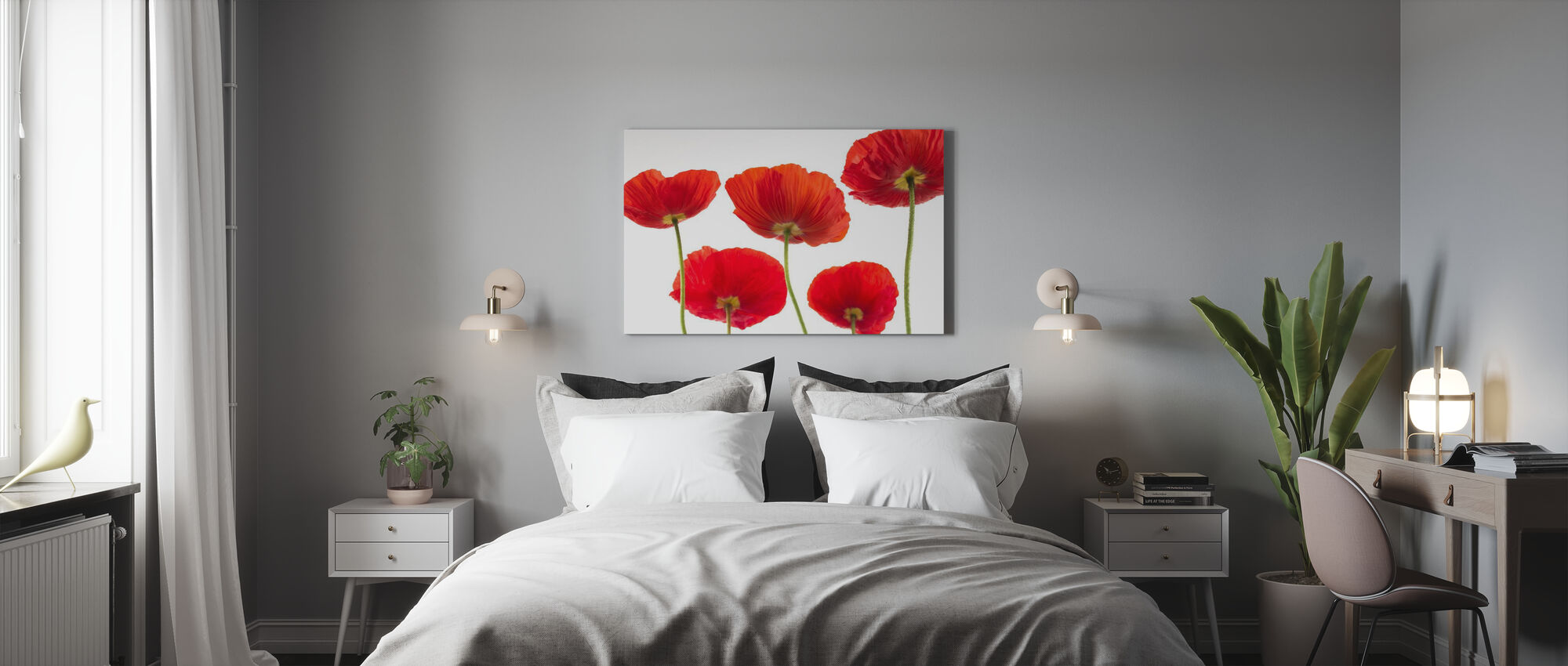 Poppies - Red - Canvas print - Bedroom