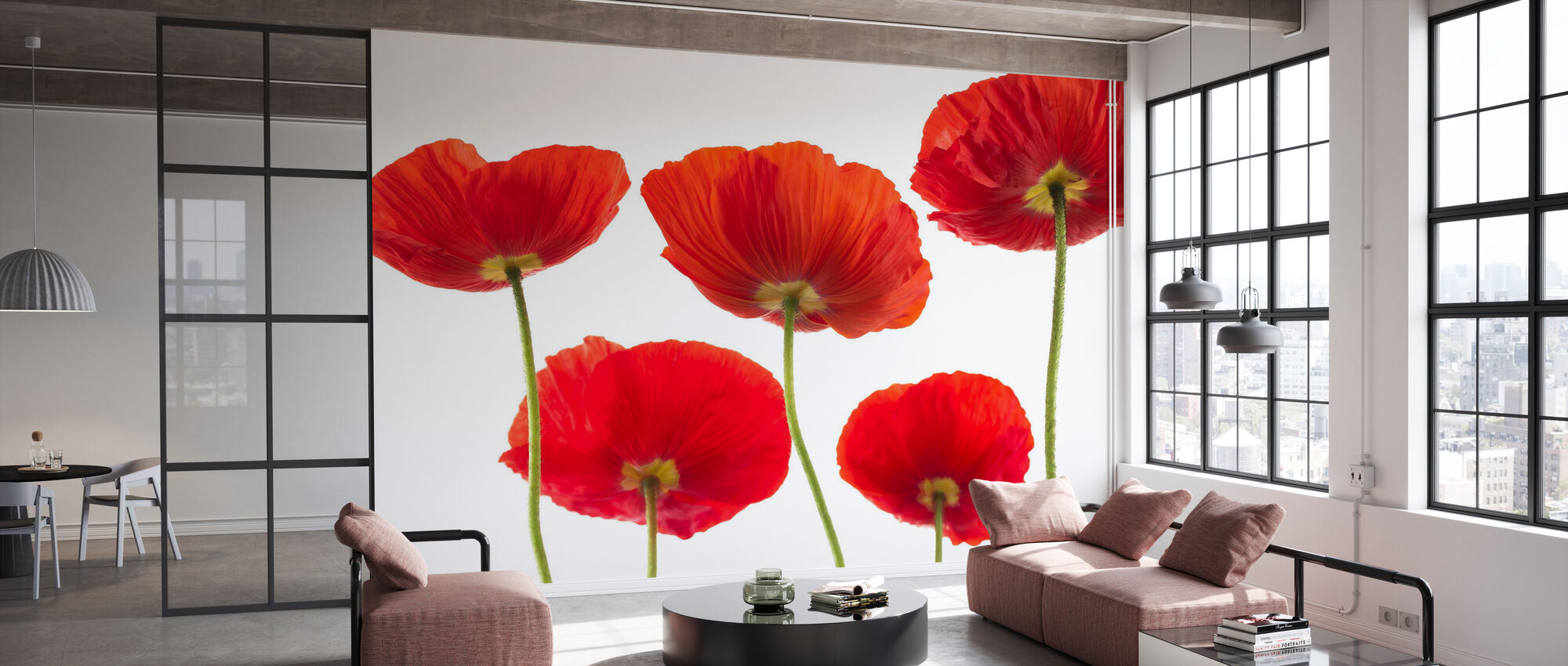 Poppies - Red - Wallpaper - Office