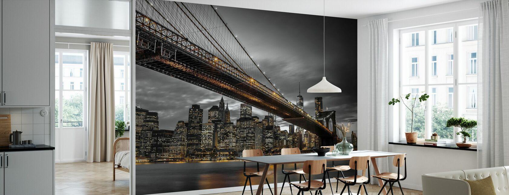 Puente de Brooklyn por la noche - Papel pintado - Cocina