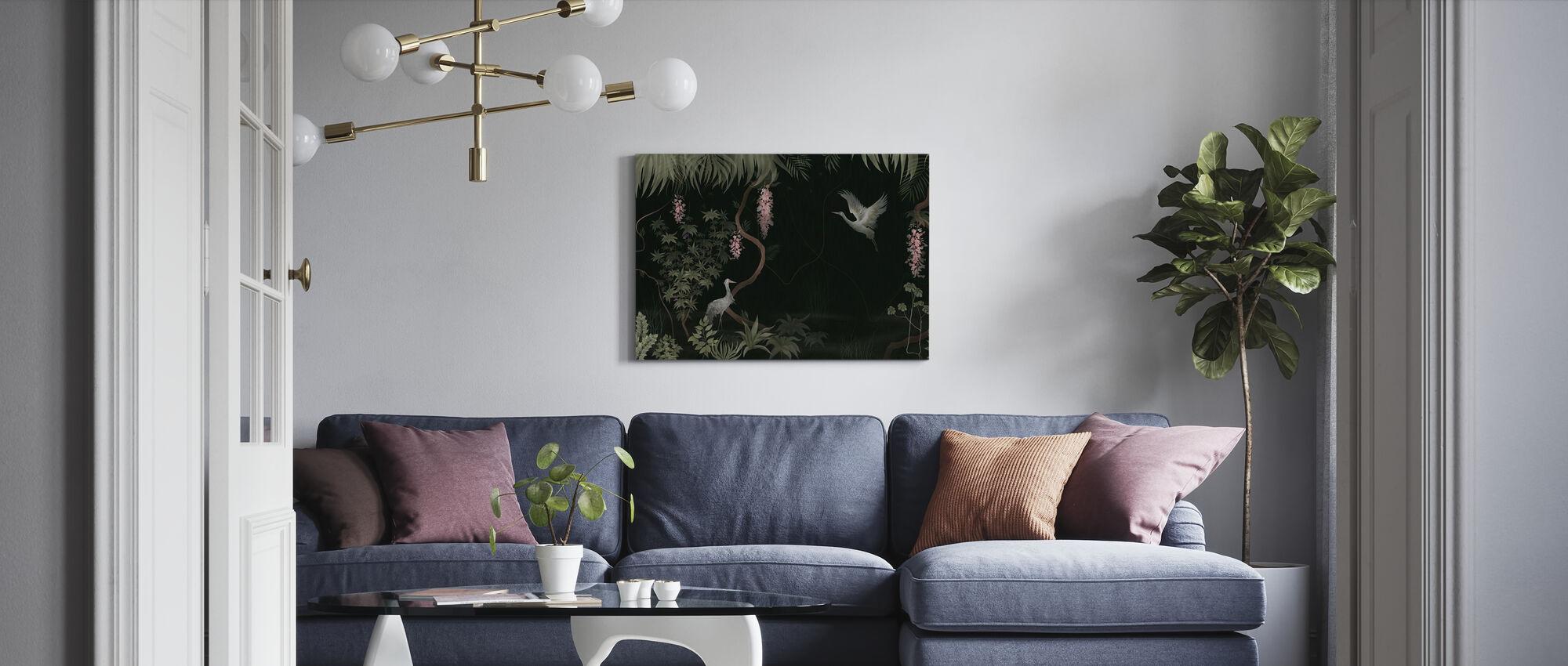 Rustig landschap - Donkere Salie - Canvas print - Woonkamer