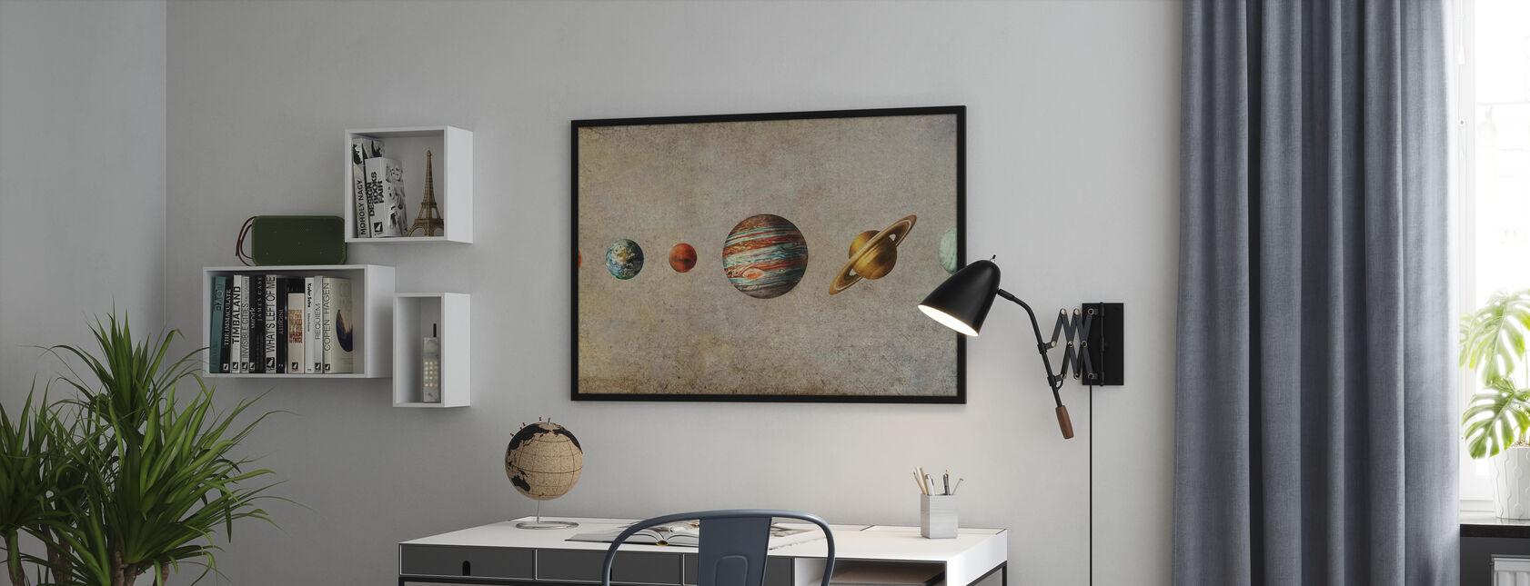 Sonnensystem - Sepia - Gerahmtes bild - Büro