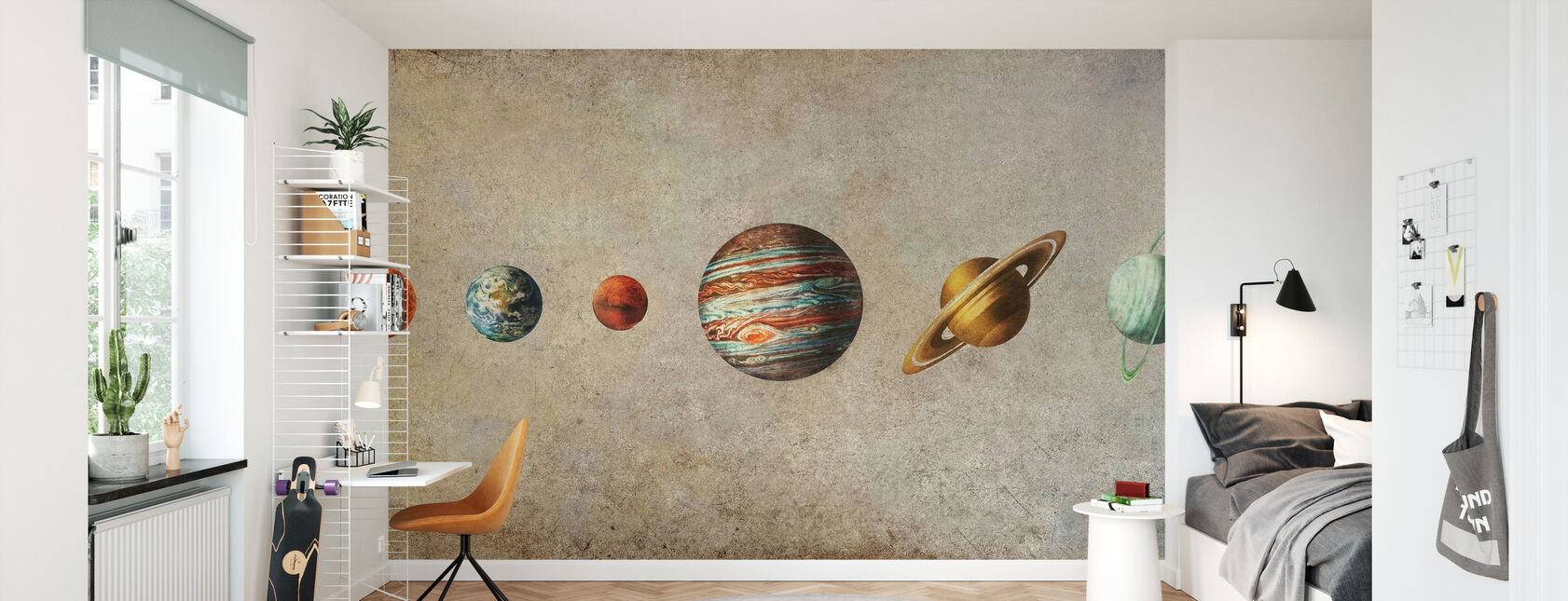 Solar System - Sepia - Wallpaper - Kids Room